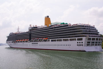 The MS Arcadia Cruise Ship near Gamboa in the Panama Canal