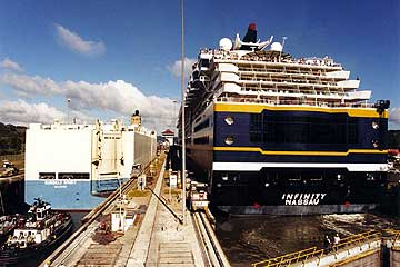 The Celebrity Infinity entering the Panama Canal