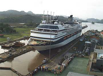 View of the Celebrity Mercury Cruise Ship in the Panama Canal Locks
