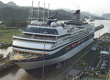 The Celebrity Mercury Cruise Ship in the Panama Canal