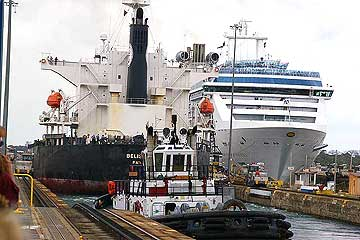 The Coral Princess Cruise Ship in the Gatun Locks