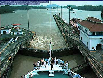 The Crystal Serenity Cruise Ship in the Pedro Miguel Locks, Panama Canal