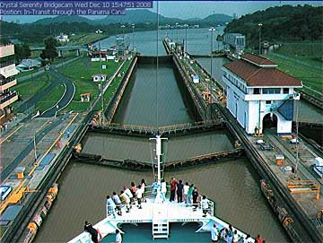 View from the Crystal Serenity Cruise Ships live cams in the Miraflores Locks