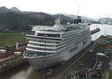 The Crystal Serenity Cruise Ship entering The Miraflores Locks
