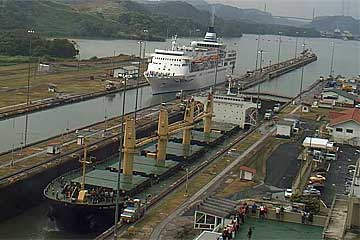 The Delphin Voyager Cruise Ship entering the Miraflores Locks - Panama Canal
