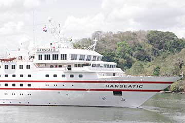 The MS Hanseatic Cruise Ship in the Panama Canal