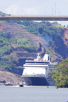 The Maasdam Cruise Ship in the Panama Canal