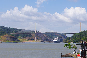 The Maasdam Cruise Ship in the Panama Canal under the new Centenial Bridge