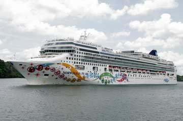 The Norwegian Pearl Cruise Ship in the Panama Canal