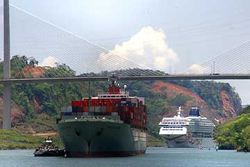 View of the Centennial Bridge with Cargo and Cruise Ships