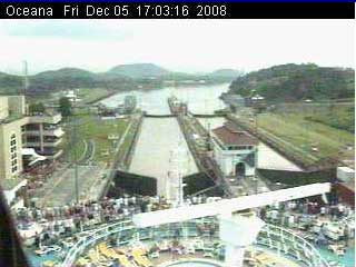 View from the Royal Cruise Ships live cam in the Miraflores Locks
