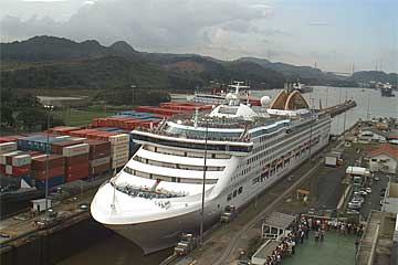 The Oceana Cruise Ship in the Panama Canal