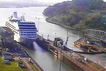 The Pacific Princess entering The Miraflores Locks on January 7th 2010
