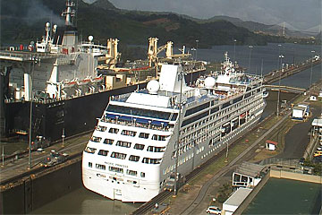 The Pacific Princess Cruise Ship in the Panama Canal