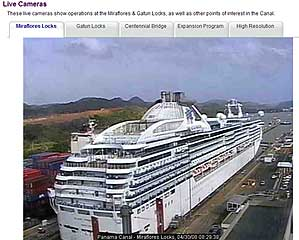 Panama Canal Live Cam view of the Miraflores Locks
