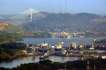 View from the Ancon Hill of the Panama Canal