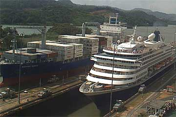The MS Prinsendam Cruise Ship, Miraflores Locks - Panama Canal