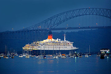 The QE 2 at the Bridge of Las Americas, Panama City