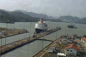 The MS Saga Ruby Cruise Ship entering the Miraflores Locks