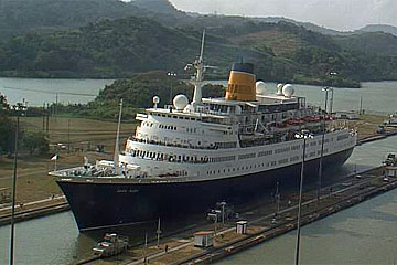 The MS Saga Ruby Cruise Ship in the Panama Canal