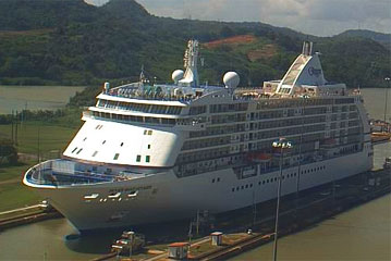 The Seven Seas Voyager Cruise Ship doing a Panama Canal Transit