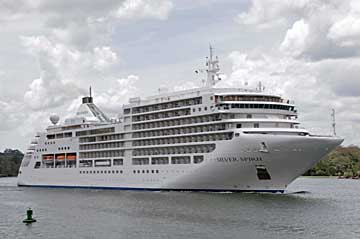 The MS Silver Spirit Cruise Ship on her North bound Panama Canal Transit