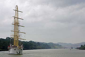 The Star Flyer Sailing Ship in the Panama Canal