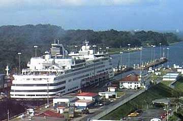 The Statendam Cruise Ship leaving the Panama Canal to the Caribbean