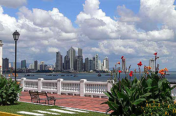 View of modern Panama City from the old part of the town